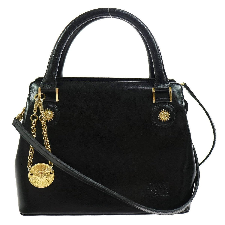 848c18fe9790e Gianni Versace Black Leather Gold Charm Top Handle Satchel Shoulder Bag For  Sale at 1stdibs