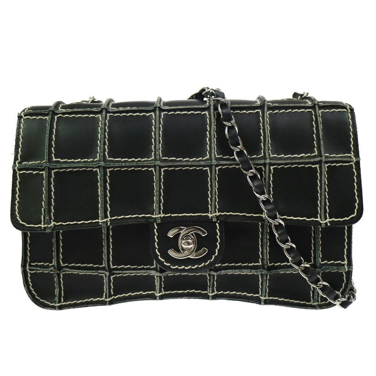 e5e4857ca7e4 Chanel Black Leather Whip Stitch Silver Evening Medium Shoulder Flap Bag  For Sale at 1stdibs