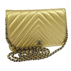 Chanel Gold Leather Chevron Wallet on Chain Clutch Evening Shoulder Flap Bag