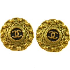 Chanel Gold Textured Chain Link Charm Evening Stud Earrings