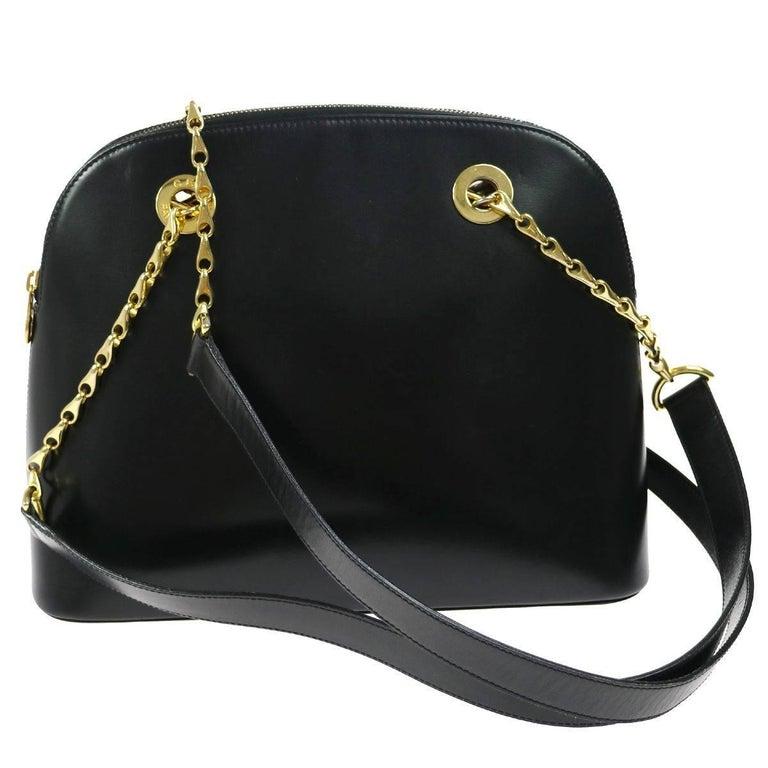 Celine Black Leather Gold Zipper Around Chain Envelope Evening Shoulder Bag