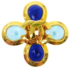 Chanel Gold Charm Cross Gripoix Turquoise Evening Pin Brooch