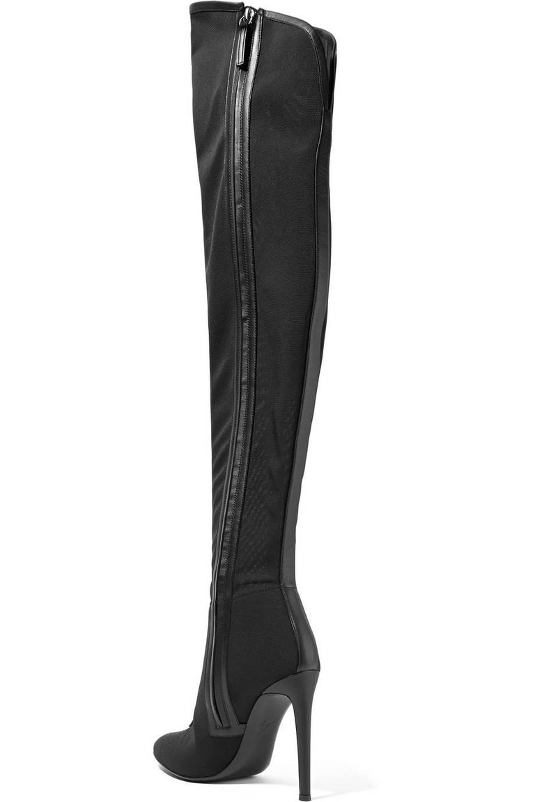 Women's Giuseppe Zanotti New Black Thigh High Corset Lace up Heels Boots in Box