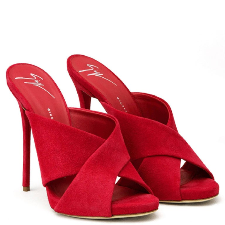Women's Giuseppe Zanotti New Red Suede Slide In Evening Sandals Heels  For Sale