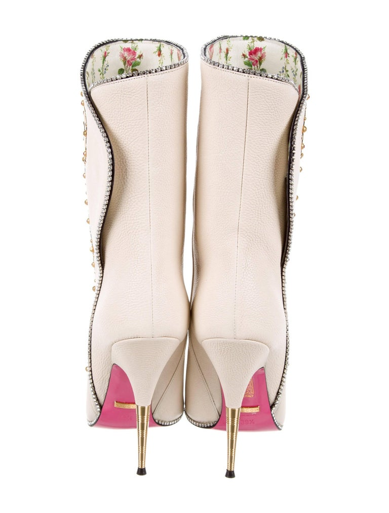 4847aa126 Gucci NEW Runway Novelty White Embroidered Crystal Evening Ankle Boots For  Sale 1