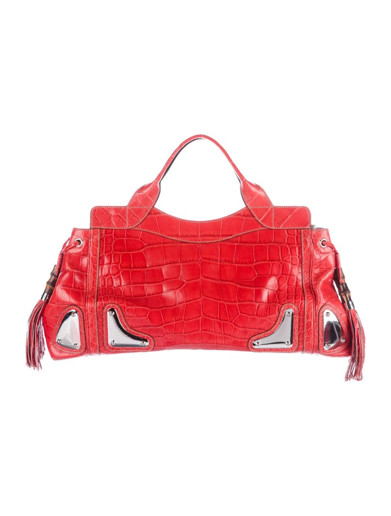 Gucci Red Crocodile Exotic Skin Leather Evening Top Handle Satchel Bag in Box In Excellent Condition For Sale In Chicago, IL