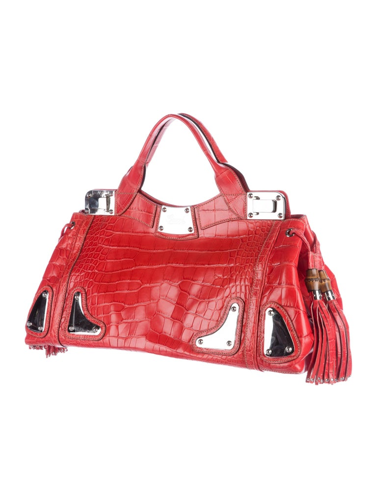 Gucci Red Black Crocodile Exotic Skin Leather Evening Top Handle Satchel Bag in Box  Original purchase price $29,995 Crocodile  Bamboo Silver tone hardware Leather lining, Flip lock closure Made in Italy Handle 5.5
