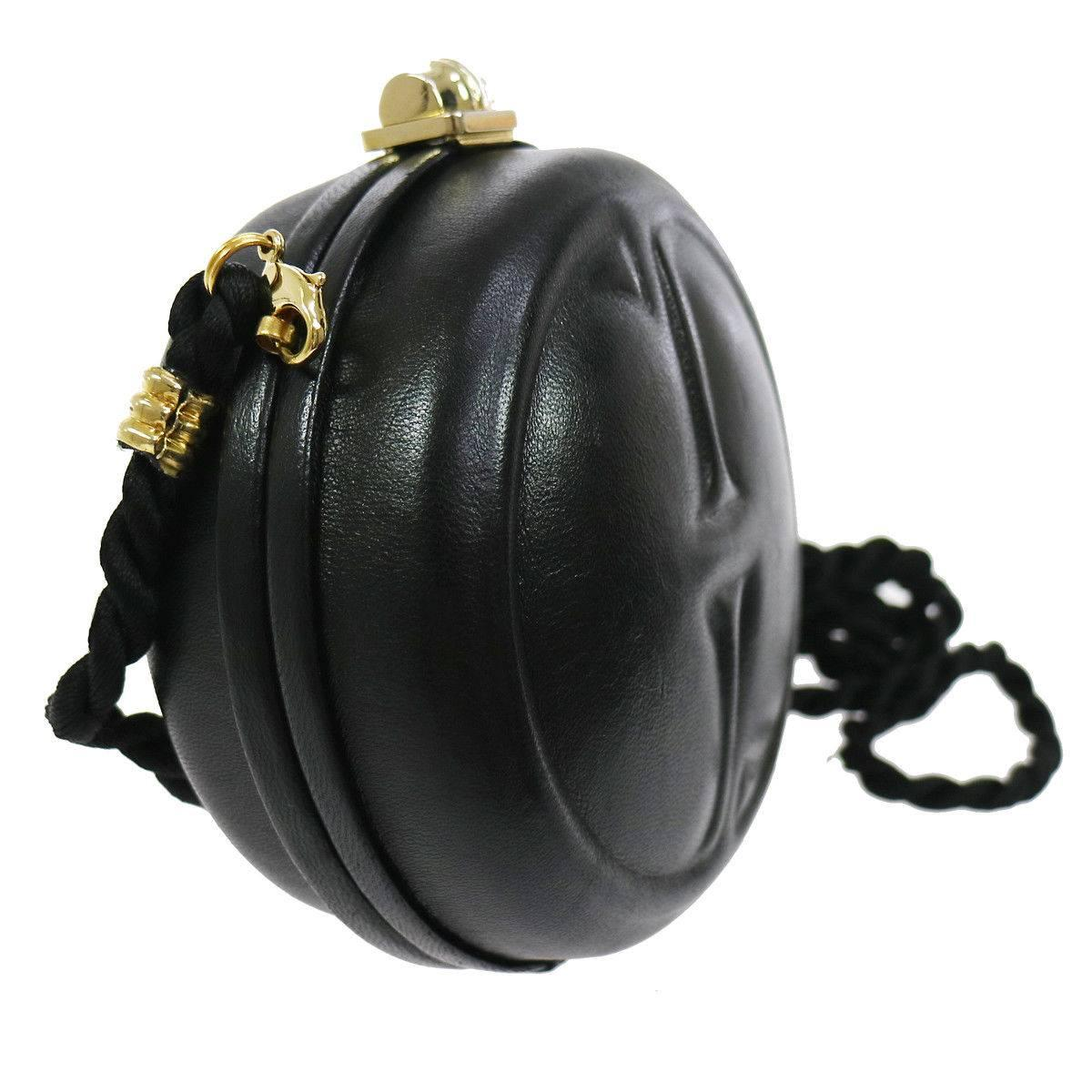 Gucci Black Leather Gg Bamboo Kisslock Round 2 In 1 Evening Clutch Shoulder Bag U9hykEvWhQ