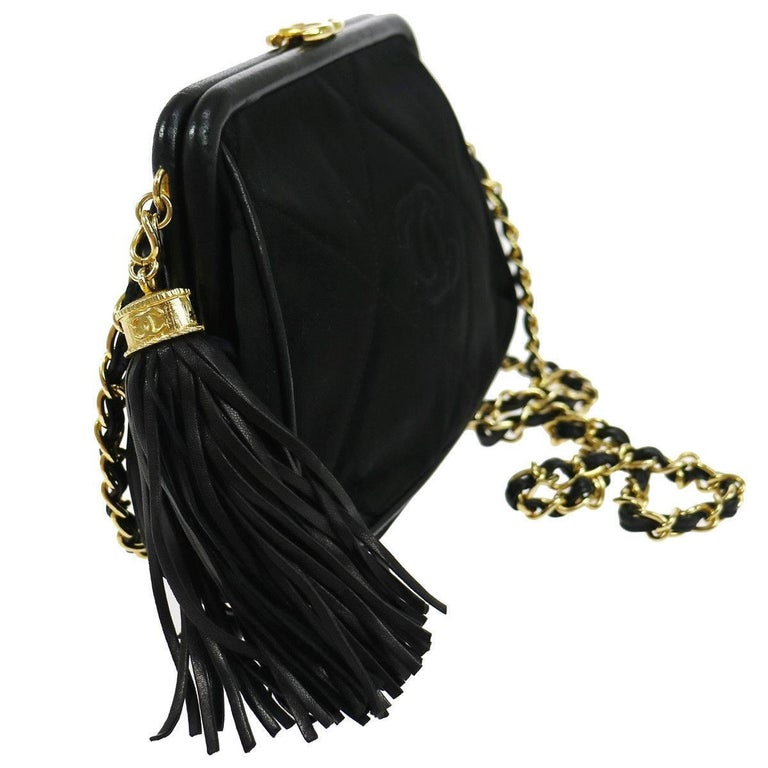 Chanel Black Quilted Kisslock Tassel Evening Party Flap Shoulder Bag in Box  Satin Silk Gold tone hardware Leather trim Leather lining Date code present Made in Italy Shoulder strap drop 18