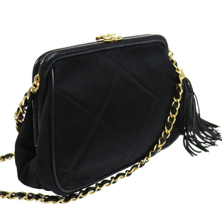 Chanel Black Quilted Kisslock Tassel Evening Party Flap Shoulder Bag in Box In Excellent Condition For Sale In Chicago, IL