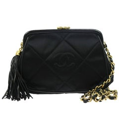 Chanel Black Quilted Kisslock Tassel Evening Party Flap Shoulder Bag in Box