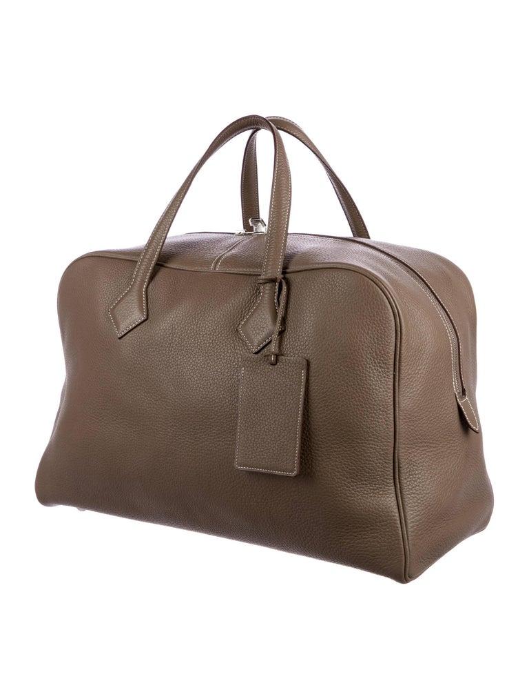 Hermes New Leather Men S Carryall Travel Weekender Duffle Tote Handle Bag Palladium Hardware Zipper