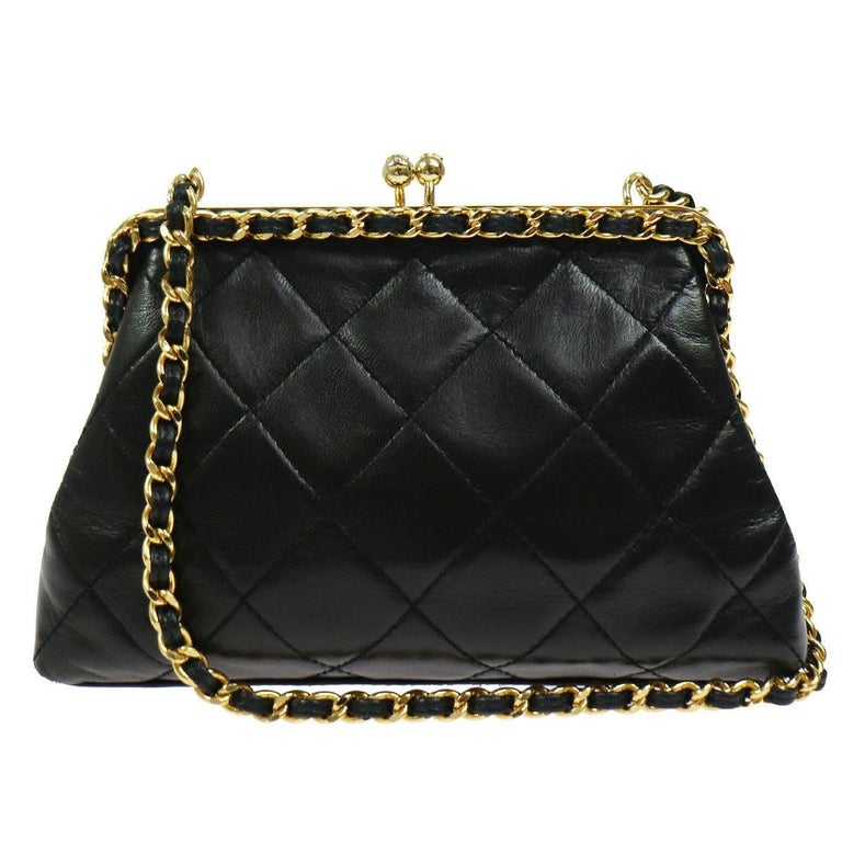 Chanel Black Lambskin Wraparound KissLock Party Evening Shoulder Bag in Box