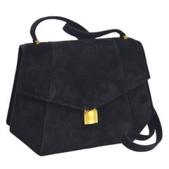 Hermes Black Suede Octagon Gold Lock Cadena Evening 2 in 1 Clutch Shoulder Bag