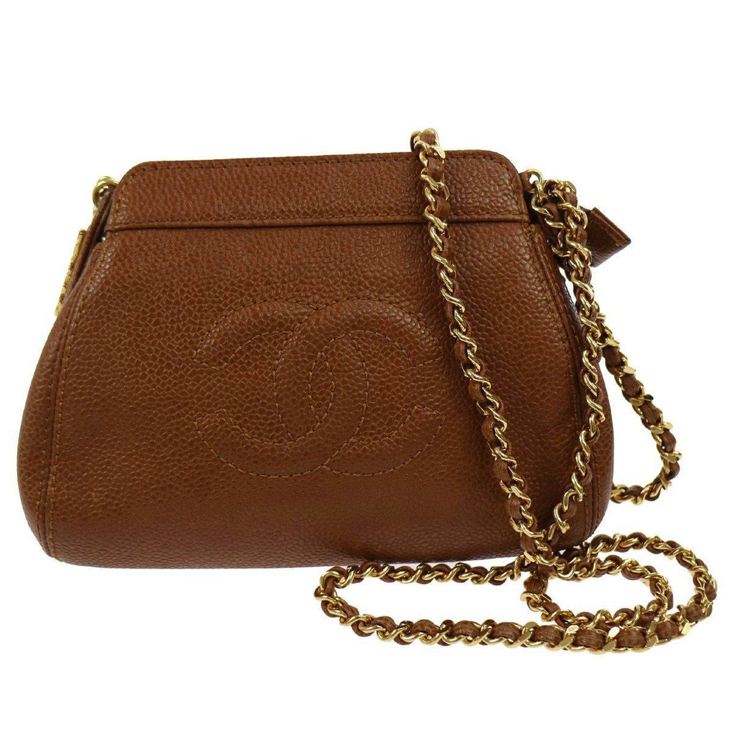 54e1125f0549 Chanel Caramel Caviar Leather Small Party Evening Shoulder Bag For Sale at  1stdibs