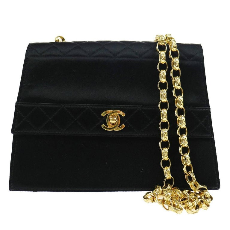 Chanel Black Silk Satin Box Kelly Style Evening Shoulder Bag For Sale 6d81001ea210b