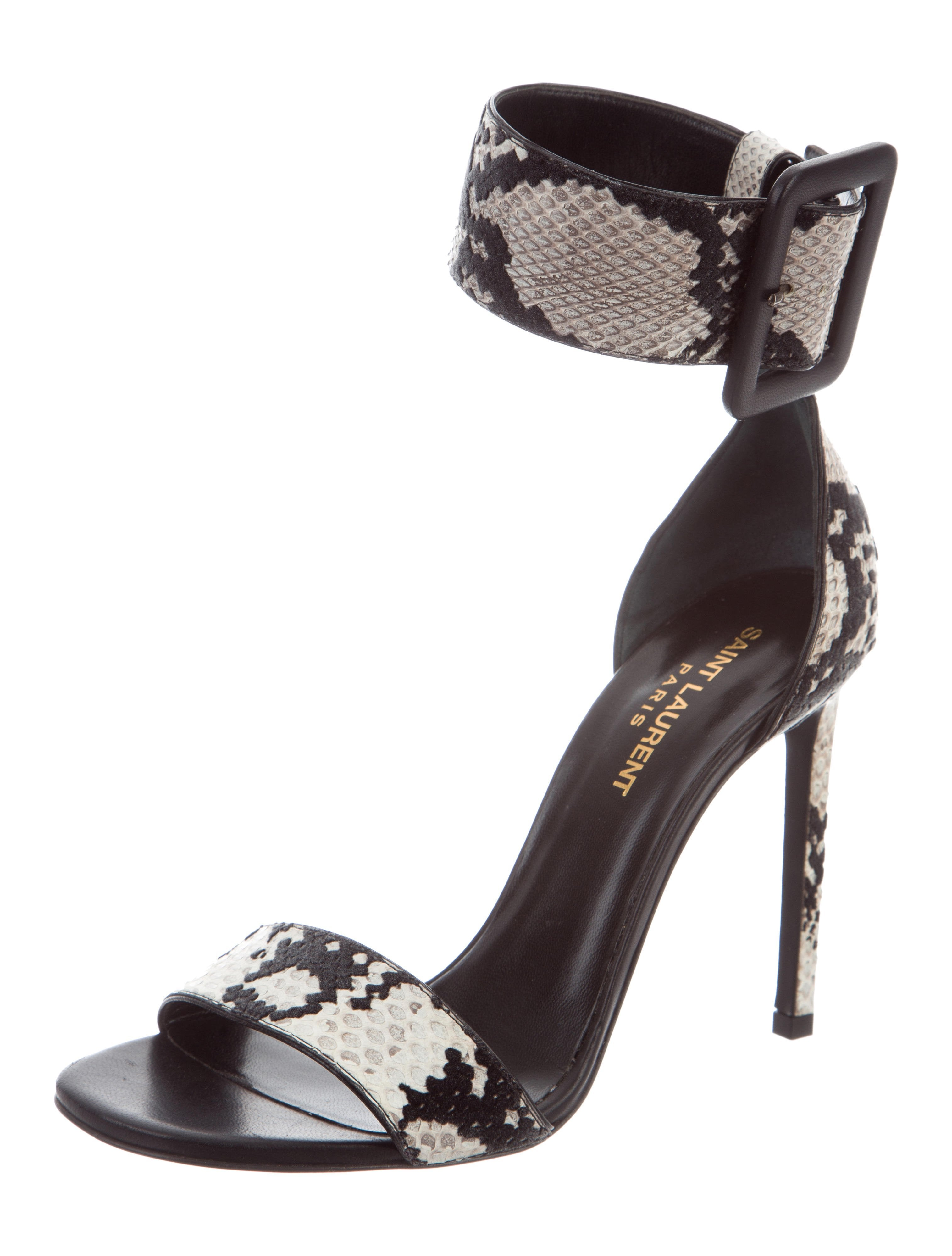 910c96cd51 Givenchy NEW Black White Snakeskin Leather Gladiator Ankle Sandals Heels in  Box at 1stdibs