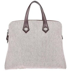 Hermes Tan Canvas Chocolate Leather Trim Top Handle Carryall Travel Tote Bag