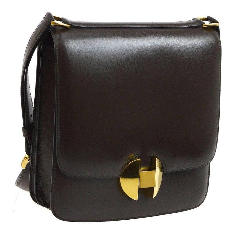 Hermes Chocolate Leather Gold Emblem Saddle Crossbody Shoulder Bag