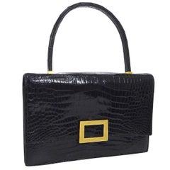 Hermes Black Leather Gold Emblem Evening Kelly Style Top Handle Satchel Bag