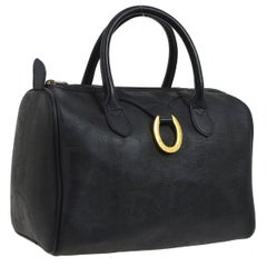 Christian Dior Black Monogram Canvas Logo Satchel Speedy Top Handle Bag