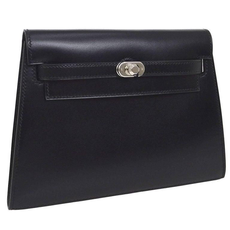 Hermes Black Leather Palladium Evening Envelope Clutch Bag