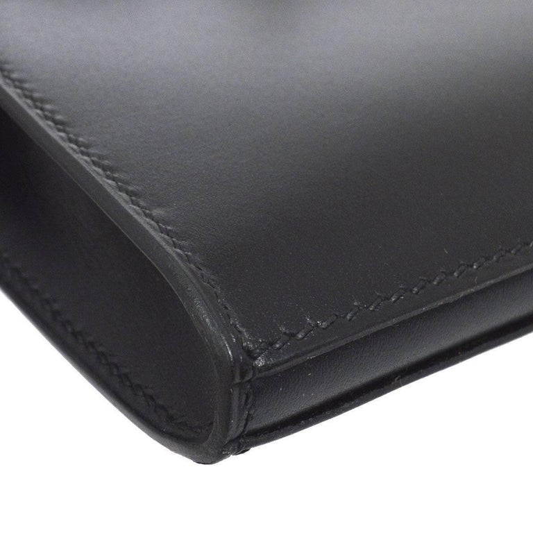 Hermes Black Leather Palladium Evening Envelope Clutch Bag For Sale 1