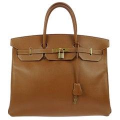 Hermes Birkin 40 Cognac Leather Gold Carryall Top Handle Satchel Tote in Box