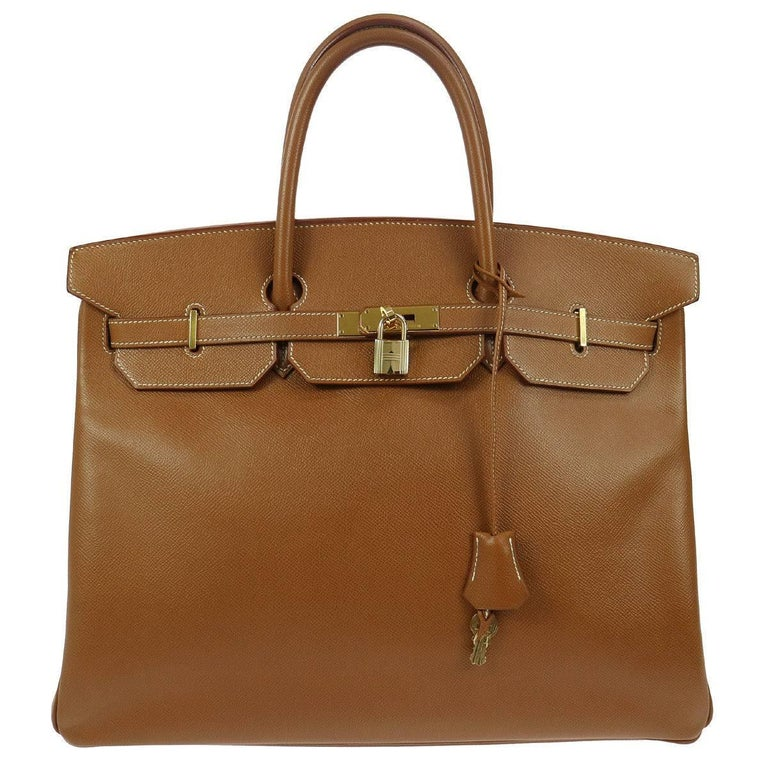 Hermes Birkin 40 Cognac Leather Gold Carryall Top Handle Satchel Tote in Box