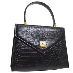 Yves Saint Laurent Black Leather Evening Kelly Style Top Handle Satchel Bag