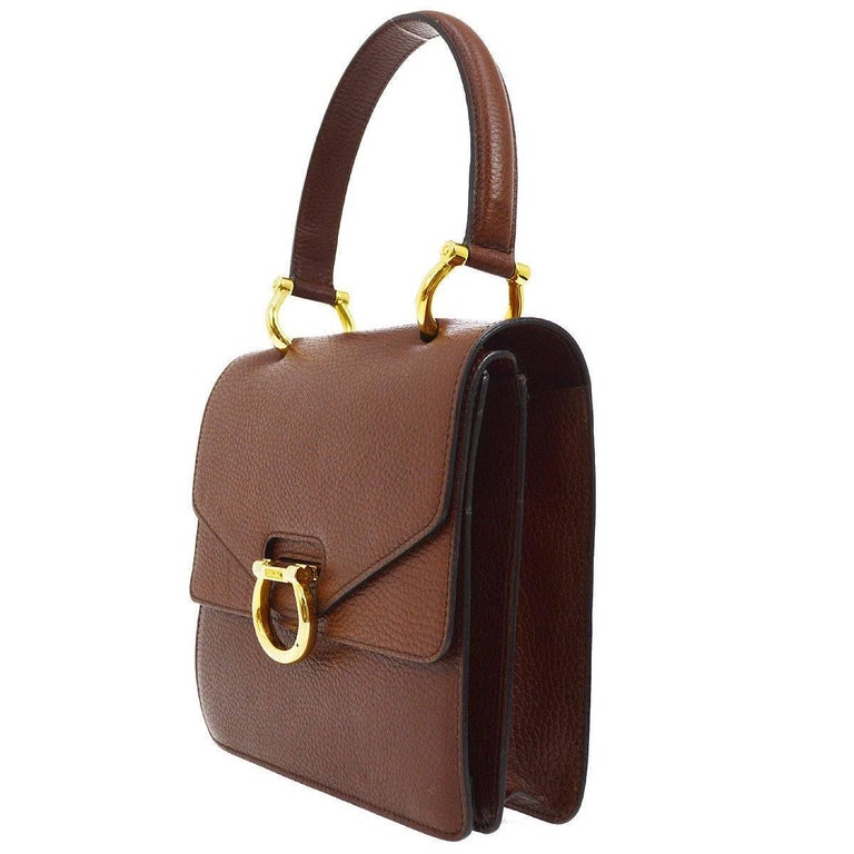 a646a3fa845f Brown Celine Cognac Leather Gold Kelly Style Evening Top Handle Satchel  Flap Bag For Sale