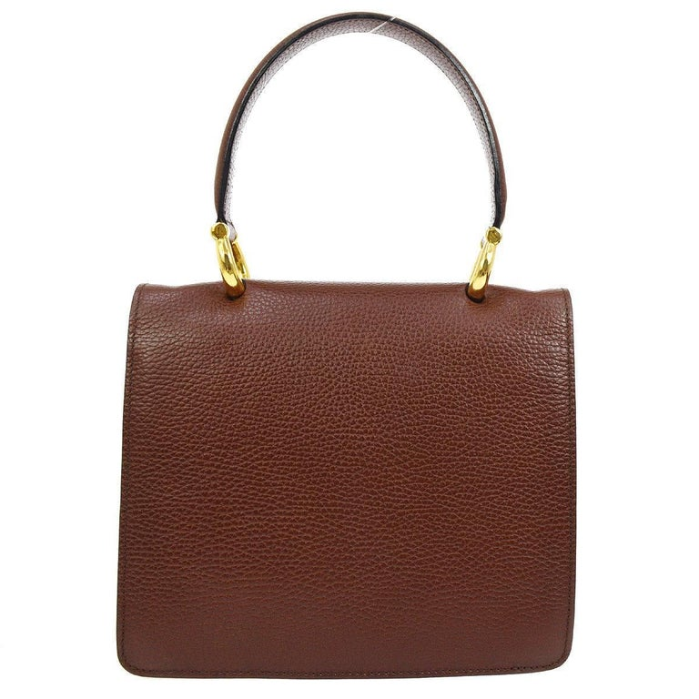 58b9592fefb0 Celine Cognac Leather Gold Kelly Style Evening Top Handle Satchel Flap Bag  In Excellent Condition For