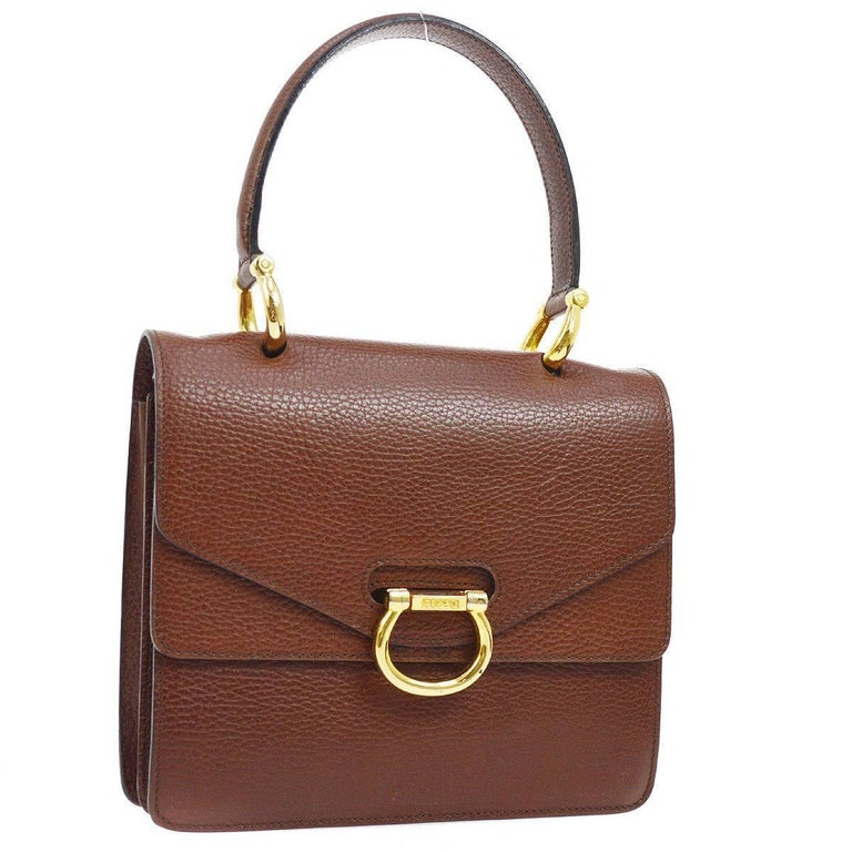 c6b46bb4cb Celine Cognac Leather Gold Kelly Style Evening Top Handle Satchel Flap Bag  For Sale at 1stdibs