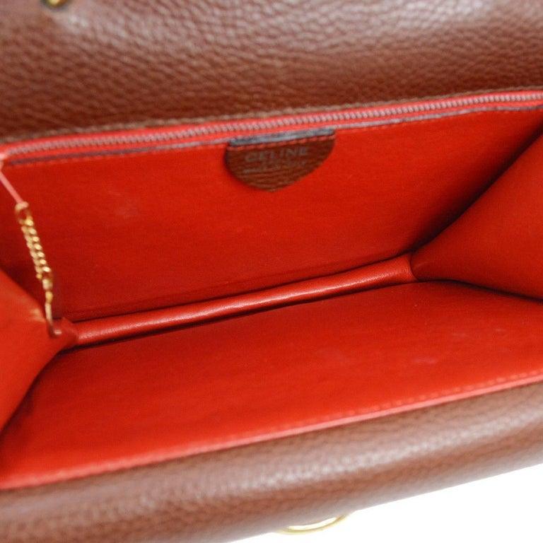 2a364bd0e786 Celine Cognac Leather Gold Kelly Style Evening Top Handle Satchel Flap Bag  For Sale 1