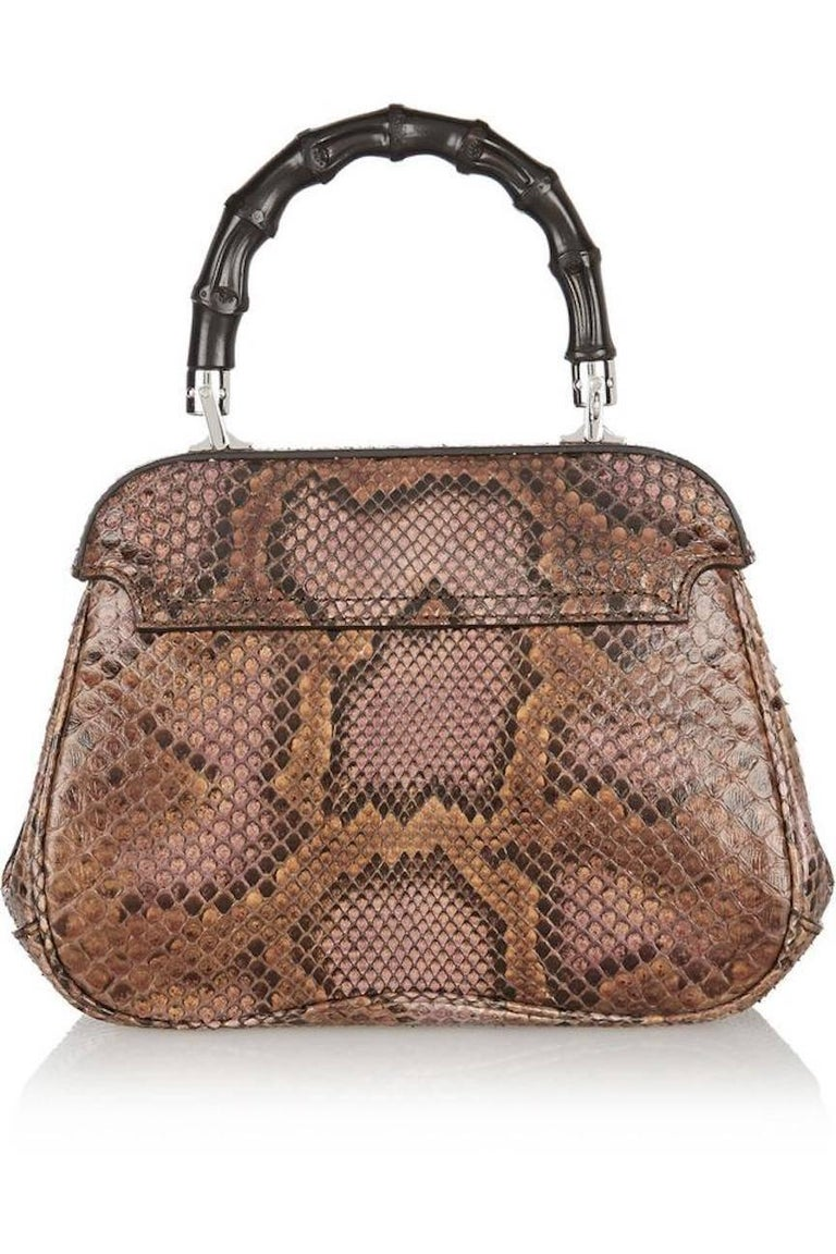 9ba608824 Women's Gucci Python Leather Bamboo Kelly Style Top Handle Satchel Shoulder  Bag For Sale