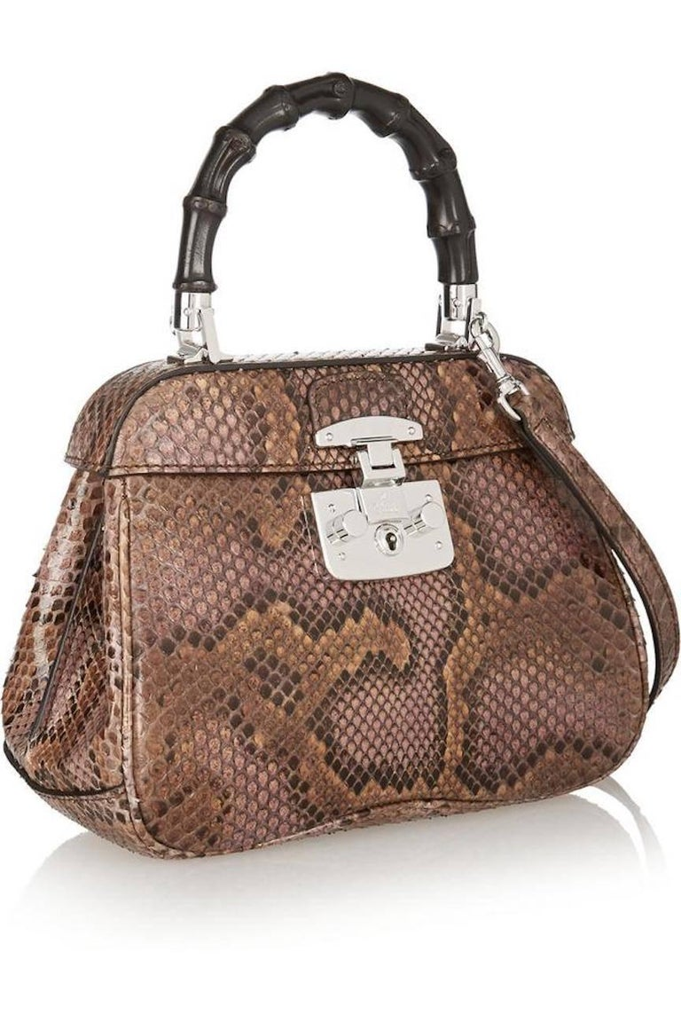 b040601b4 Gucci Python Leather Bamboo Kelly Style Top Handle Satchel Shoulder Bag In  Excellent Condition For Sale