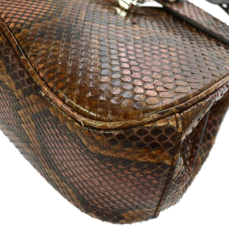 c36ce1d65 Gucci Python Leather Bamboo Kelly Style Top Handle Satchel Shoulder Bag For  Sale 2