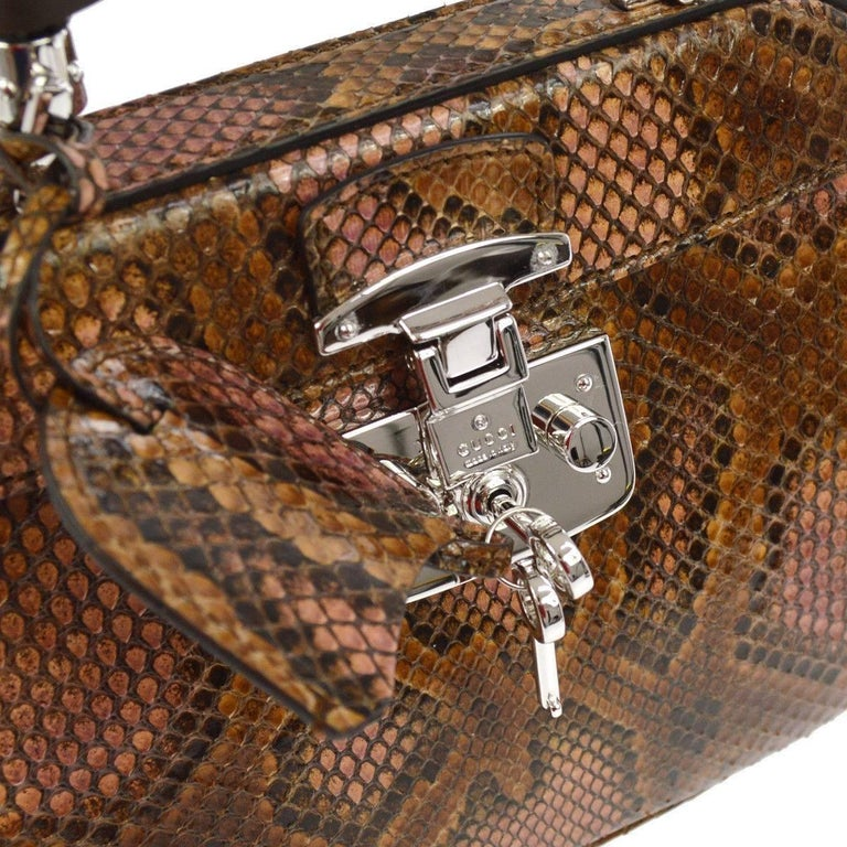 5b0d5f7f9 Brown Gucci Python Leather Bamboo Kelly Style Top Handle Satchel Shoulder  Bag For Sale
