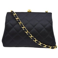 Chanel Black Satin Kisslock 2 in 1 Clutch Party Evening Shoulder Flap Bag