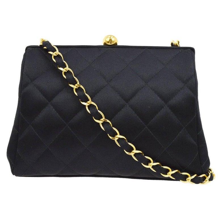 a9fdabe53c2c Chanel Black Satin Kisslock 2 in 1 Clutch Party Evening Shoulder Flap Bag  For Sale