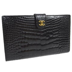Chanel Rare Black Crocodile and Caviar LeatherEvening Gold Clutch Wallet in Box