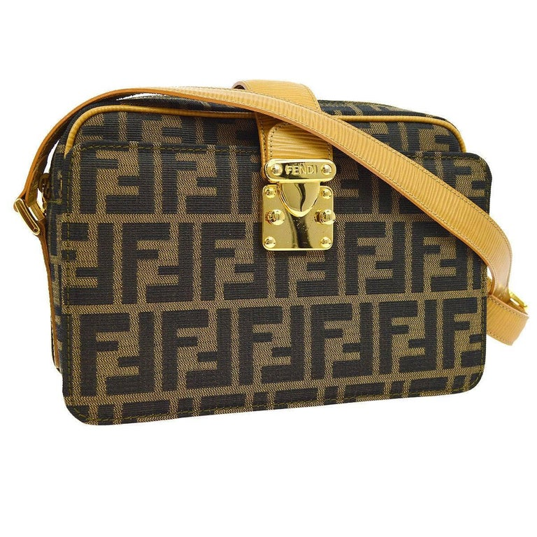 Fendi Monogram Canvas Leather Trim Camera Carryall Crossbody Shoulder Bag