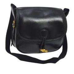 Hermes Black Leather Toggle Saddle Crossbody Shoulder Flag Bag