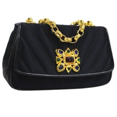 Chanel Rare Black Gripoix Charm Evening 2 in 1 Clutch Party Shoulder Flap Bag