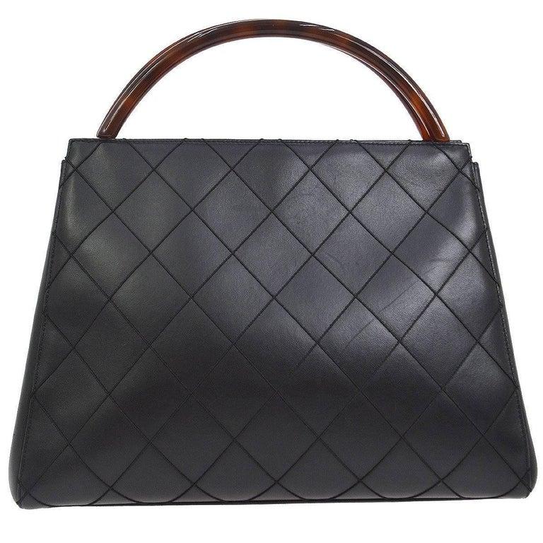 Chanel Black Leather Cross Sch Kelly Style Brown Tortoise Top Handle Satchel Bag Plastic