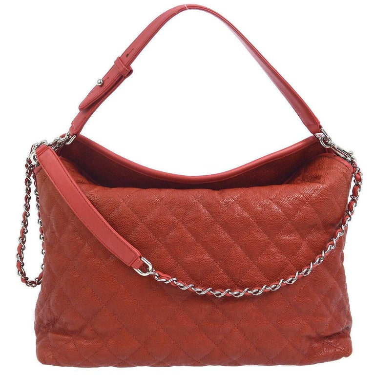 Chanel Red Leather Large Foldover Top Handle Carryall Hobo Shoulder Bag