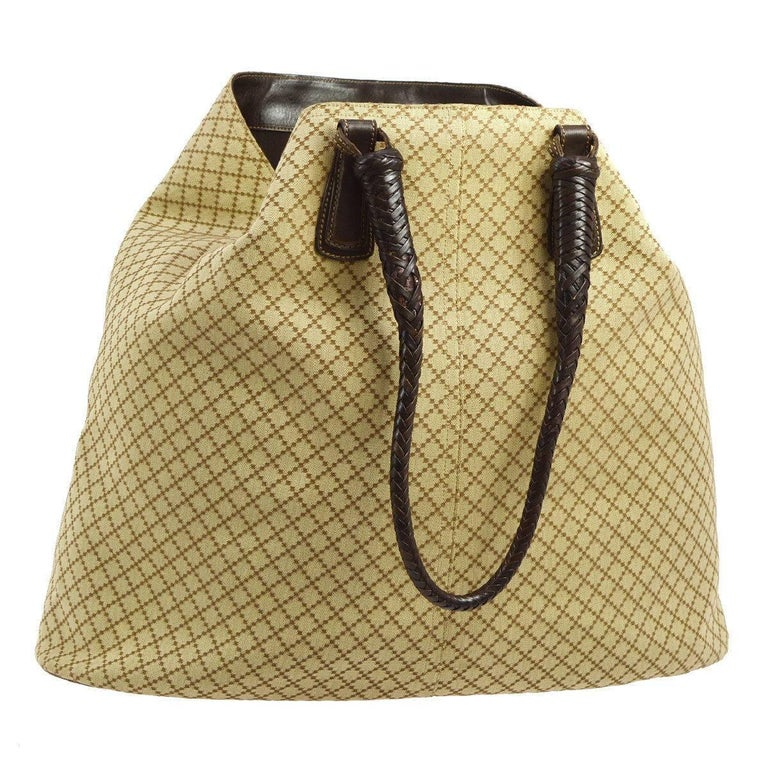 Gucci Monogram Canvas Leather Trim Carryall Travel Large Hobo Shoulder Bag