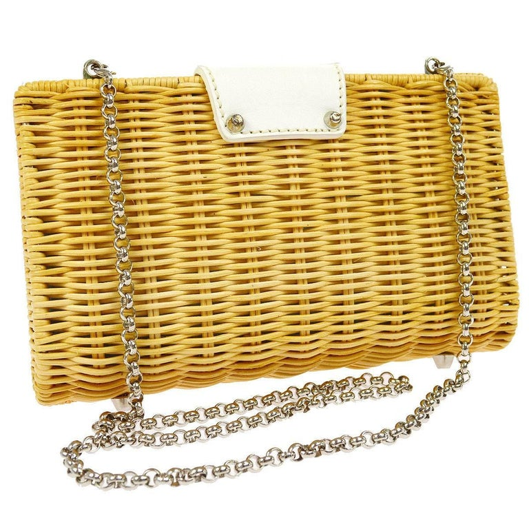Beige Tiffany & Co. Tan Wicker Leather Lunch Evening 2 in 1 Clutch Shoulder Bag in Box For Sale