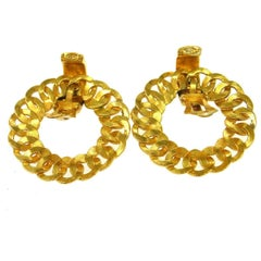Chanel Gold Braided CC 2 in 1 Charm Hoop Evening Earrings