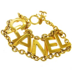 "Chanel Gold ""CHANEL"" Charm Chain Link Evening Cuff Bracelet"